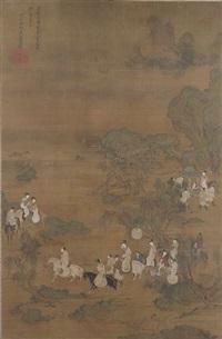 die dame guoguo und ihre schwestern beim frühlingsausritt by emperor huizong