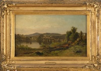 a river landscape with town and distant mountains by james mcdougal hart