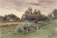 landschaft mit wassermühle und figurenstaffage by eduard emil august leonhardi