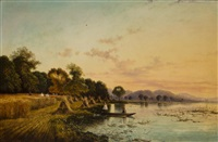 harvesters along a lake by edwin henry boddington
