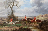 fox hunting scenes (set of 4) by dean wolstenholme the younger