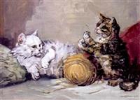 zwei mit wollknäueln spielende katzen by hilde boklin