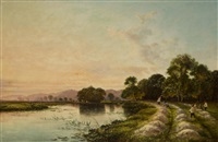 haymaking by a lake by edwin henry boddington