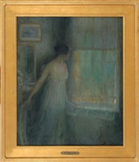 portrait of a woman peering out a window by luis graner y arrufi