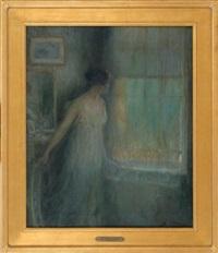 portrait of a woman peering out a window by luis graner y arrufi