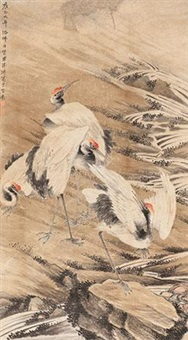 仙鹤 (red-crowned cranes) by jiang pu