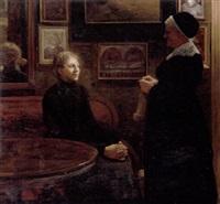 interior med siddende ung pige og stående bedstemor i gang med strikketojet by tony müller