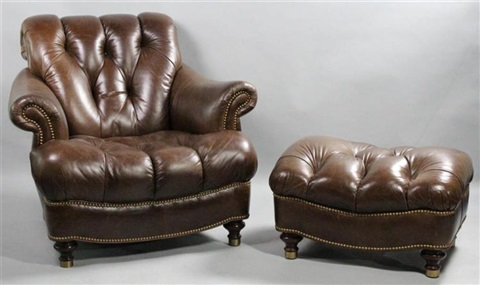 Strange Chocolate Brown Leather Club Chair With Matching Ottoman Creativecarmelina Interior Chair Design Creativecarmelinacom