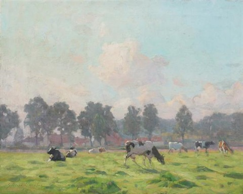 cows in spring meadow with distant village by gerard ger jacobs