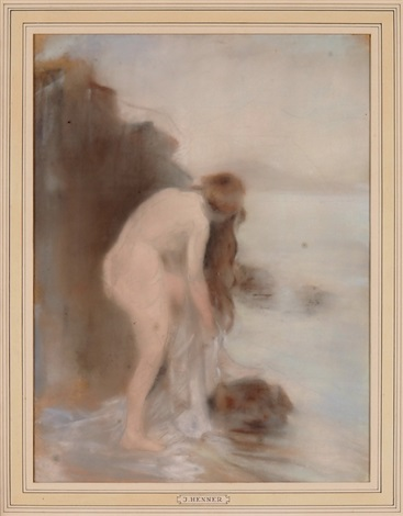 badende am flussufer sich badend by jean jacques henner