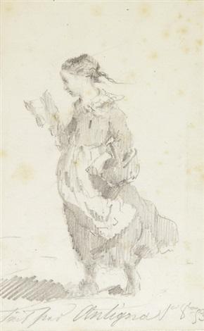 schreitendes mädchen in einem buch lesend by alexandre antigna