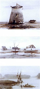 an old windmill (+ 2 others, larger; 3 works) by emerik fejes