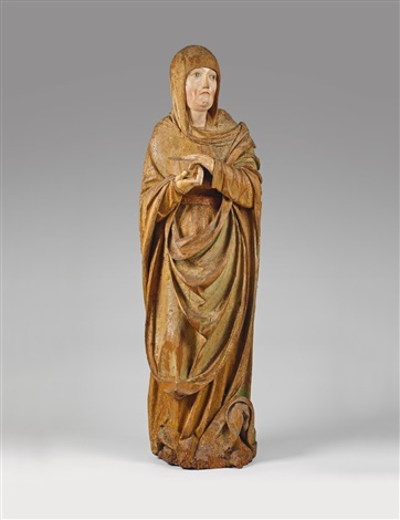 a carved wood high relief figure of saint mary magdalene by jörg kändel