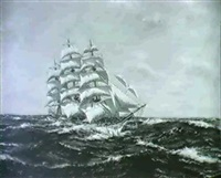the ship thomas steven in the open sea by henri louis scott
