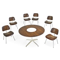 dining table and six chairs (dcms) (7 works) by george nelson and charles eames