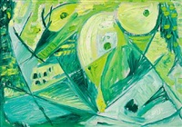 green masks by egill jacobsen