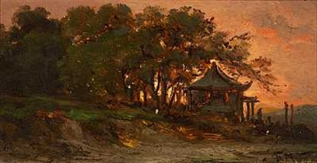 huse og træer i solnedgangen fra shanghai by fritz siegfried george melbye