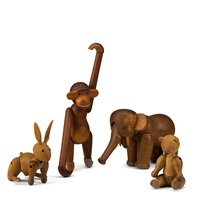 animals: elephant, bear, rabbit, and monkey, denmark, (4 works) by kay bojesen