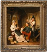 un soldado con dos jóvenes by jean alphonse roehn
