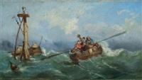 chaloupe recueillant des naufragés by arthur tomson