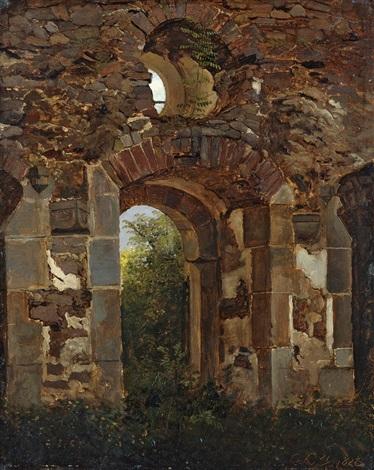 tordurchgang in der ruine des heilig kreuz klosters bei meissen by georg heinrich crola