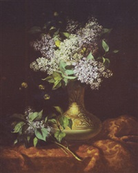 still life of lilacs in a vase of the aesthetic taste by joseph baccard