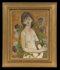 girl with purple flowers by marcel vertès