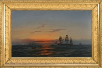 dramatic sunset at sea by james hamilton