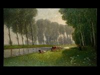 landschaft mit kühen an gewässer und baumhain by jean grothe