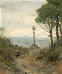 paisaje con cruz de término by modesto texidor y torres