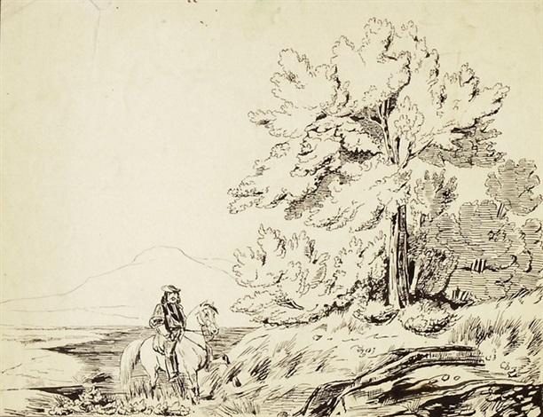 landschaft mit pferd und reiter zwischenhalt smllr 2 works sketches by nicolas toussaint charlet