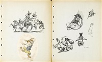 preliminary model drawings from song of the south by disney studios