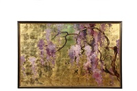 lilac wisteria (fuji) with hummingbirds by jean franz miller