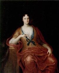 porträtt a sittande dam iförd gul klänning och röd sjal by gerard wigmana