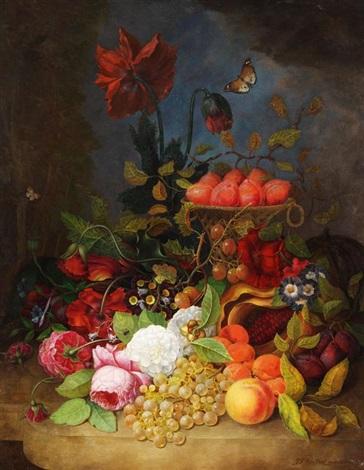 stillleben mit blumen insekten trauben pflaumen pfirsichen und melone auf einem tisch by jan frans van dael