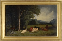 cattle in a meadow by frederick s. batcheller