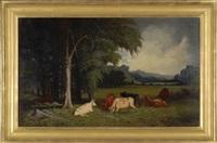 cattle in a meadow by frederick s. batcheller