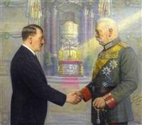 adolf hitler und reichspräsident paul von hindenburg geben sich die hand in kirchlichem interieur by carl langhorst