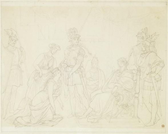 armida bittet den herzog gottfried um hilfe drawing for etched illustration in tassos gerusalemme liberate by peter von cornelius