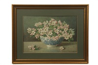 still life of apple blossoms in a low blue willow bowl by percy a. sanborn