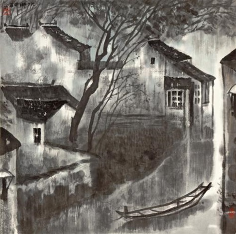 rivertown after rain by li xiaoke