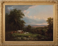new england landscape with cows and sheep beside a stream by john white allen scott