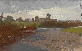 landschaft mit häusern by adolf des coudres