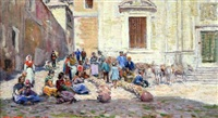 spanish market place with figures selling pots by arthur trevor haddon