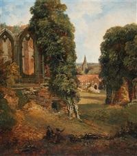 the oriel window, and kenilworth church from the upper end of the great hall by george hilditch