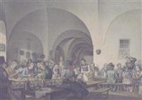 der maler friedrich fleischmann im kreise seiner münchner künstlerkollegen im hofbräukeller by friedrich fleischmann