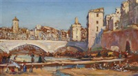 view of a spanish town with figures on a dry river bed by arthur trevor haddon