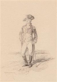 militar y retrato del poeta y político albert de quintana i combis (2 works) by edouard armand-dumaresq