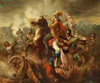 slagscene med herremand til hest by josef grandauer