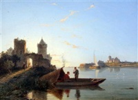 boatmen in a tranquil landscape by pieter cornelis dommersen